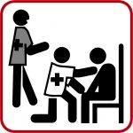Piktogramm rot Notfalldolmetscher